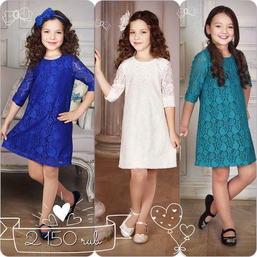 """Одежда для девочек, ручной работы. Ярмарка Мастеров - ручная работа. Купить Платье для девочки """"Кружево""""  (васильковый - 74). Handmade."""