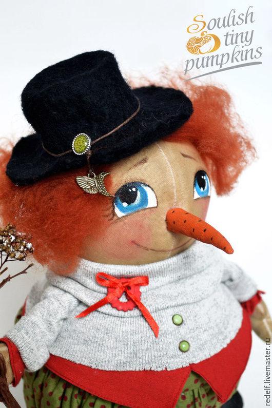 Коллекционные куклы ручной работы. Ярмарка Мастеров - ручная работа. Купить Интерьерная кукла тыквоголовка Снеговик. Handmade. Снеговик, тыквоголовка