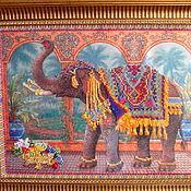 Для дома и интерьера ручной работы. Ярмарка Мастеров - ручная работа Картина бисером.Индийский слон. Handmade.
