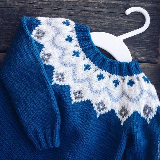 Одежда унисекс ручной работы. Ярмарка Мастеров - ручная работа. Купить Деткий свитер с жаккардом. Handmade. Тёмно-синий