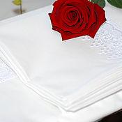 Для дома и интерьера ручной работы. Ярмарка Мастеров - ручная работа Комплект постельного белья молочного цвета с кружевом. Handmade.