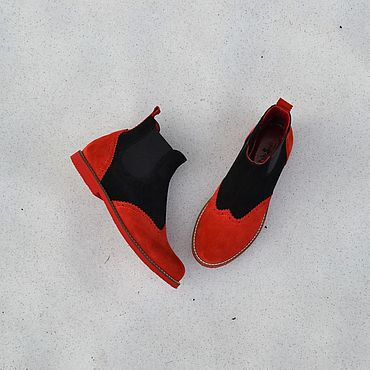 Обувь ручной работы. Ярмарка Мастеров - ручная работа Челси низкие замшевые комбинированные. Handmade.