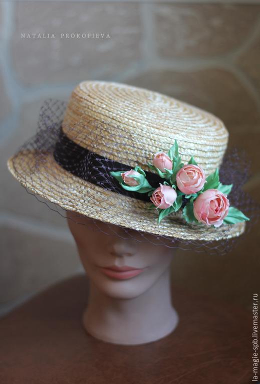 Шляпы ручной работы. Ярмарка Мастеров - ручная работа. Купить Канотье с шёлковыми розами. Handmade. Золотой, шоколадный, соломенная шляпа