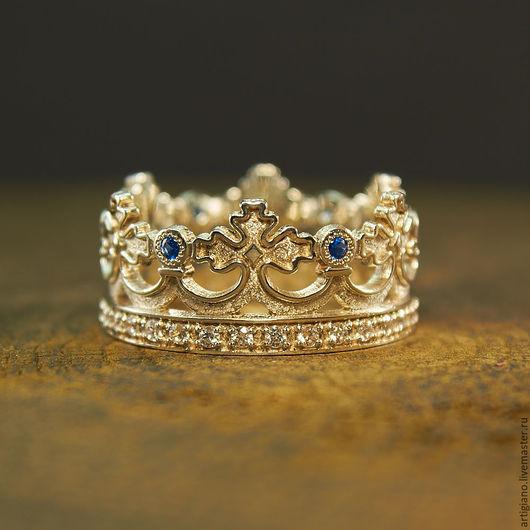 Кольца ручной работы. Ярмарка Мастеров - ручная работа. Купить Кольцо Корона. Handmade. Корона, широкое кольцо, кольцо с камнями