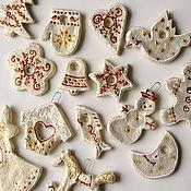 """Подарки к праздникам ручной работы. Ярмарка Мастеров - ручная работа Набор новогодних игрушек """"Из детства"""" (перламутровый). Handmade."""