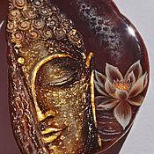 Украшения handmade. Livemaster - original item Painted pendant Golden Buddha white lotus necklace with stone. Handmade.