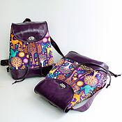 """Сумки и аксессуары ручной работы. Ярмарка Мастеров - ручная работа Кожаный рюкзак """"Волшебный лес"""" Фиолетовый. Handmade."""