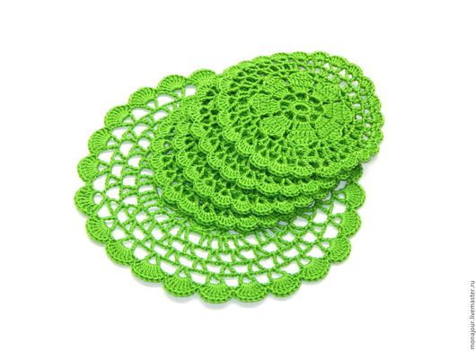 """Кухня ручной работы. Ярмарка Мастеров - ручная работа. Купить Набор вязаных подставок """"Пробуждение"""". Handmade. Зеленый, пробуждение, зелень"""