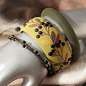 Украшения handmade. Livemaster - original item Green bracelets with black berries from polymer clay. Handmade.