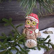 Подарки к праздникам handmade. Livemaster - original item Owl coffee.Happy new year!! Christmas toy.. Handmade.