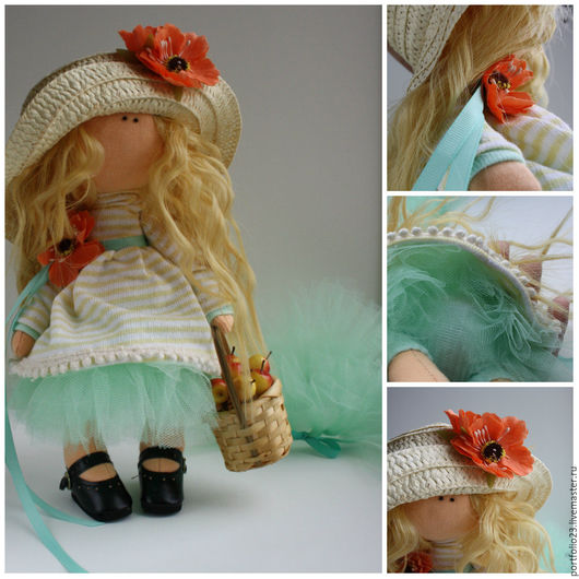 Куклы тыквоголовки ручной работы. Ярмарка Мастеров - ручная работа. Купить МИЛА  с яблоками. Handmade. Мятный, кукла Тильда, яблочки