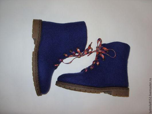 """Обувь ручной работы. Ярмарка Мастеров - ручная работа. Купить зимние ботинки """"синий вечер"""". Handmade. Тёмно-синий"""