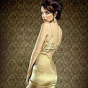 Одежда ручной работы. Ярмарка Мастеров - ручная работа Золотое платье с кружевным лифом.. Handmade.