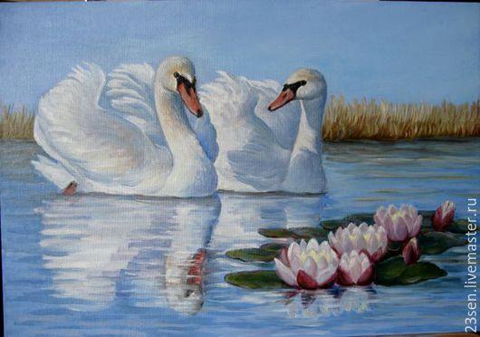 """Животные ручной работы. Ярмарка Мастеров - ручная работа. Купить Картина """" Пара лебедей"""". Handmade. Разноцветный, лебединая верность"""