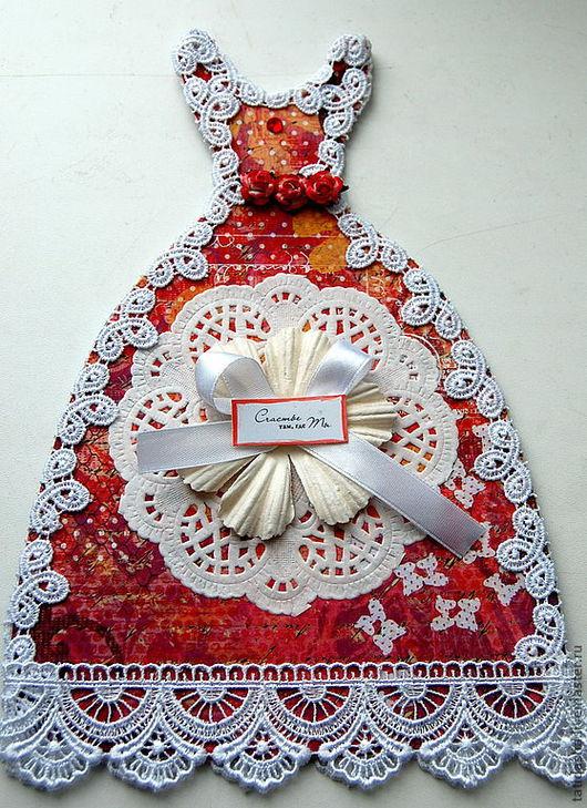 """открытка """"Бальное платье"""" - можно использовать в качестве пригласительного на праздник для девочки"""