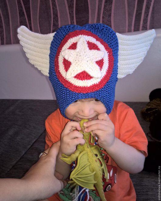 Шапки ручной работы. Ярмарка Мастеров - ручная работа. Купить Шапка Капитан Америка. Handmade. Комбинированный, вязаная шапка, супергерой