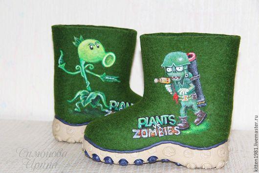 """Обувь ручной работы. Ярмарка Мастеров - ручная работа. Купить Детские валенки для улицы """"Plants vs. Zombies"""". Handmade. Шерсть"""