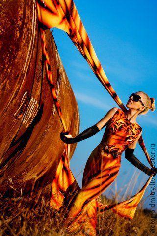 Платья ручной работы. Ярмарка Мастеров - ручная работа. Купить платье ТИГР. Handmade. Рыжий, вызывающее платье