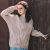 handmade. Livemaster - original item Jerseys: Women`s knitted sweater with braids in light beige color. Handmade.