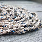 Украшения handmade. Livemaster - original item Long Necklace Scarf Lariat Knitted Braided Belt Beige Grey Linen. Handmade.