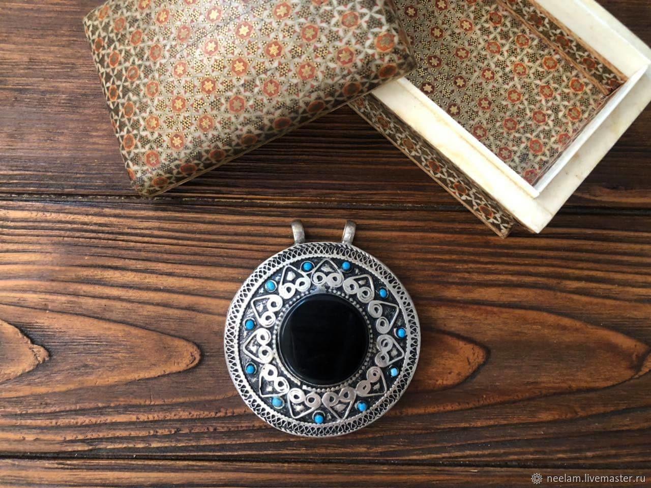 Круглый  кулон с черным агатом, серебряный медальон, Подвески, Киев, Фото №1