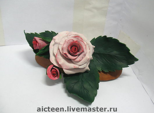 """Заколки ручной работы. Ярмарка Мастеров - ручная работа. Купить Кожаная заколка  """"Розовый куст"""". Handmade. Заколка с цветами"""