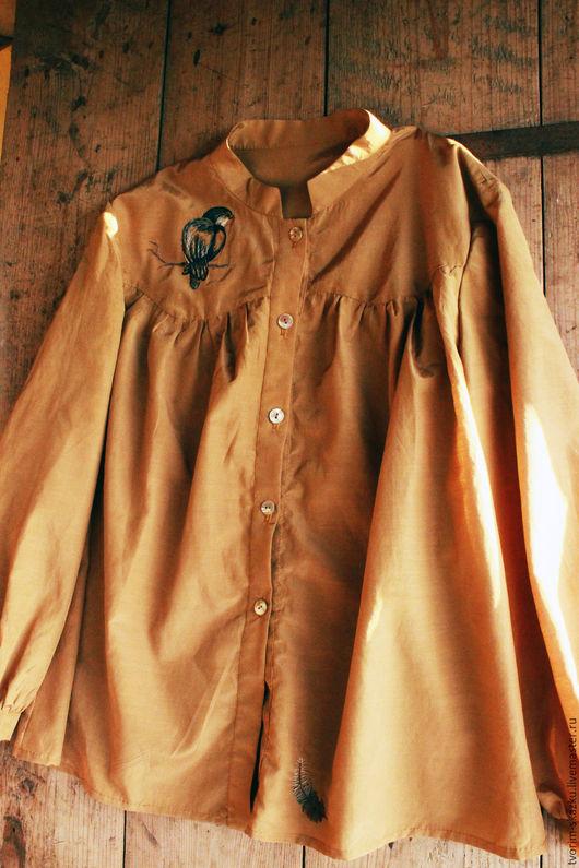 """Блузки ручной работы. Ярмарка Мастеров - ручная работа. Купить Рубашка """"Птичка-пеструшка"""". Handmade. Оранжевый, шафранный цвет, птица"""