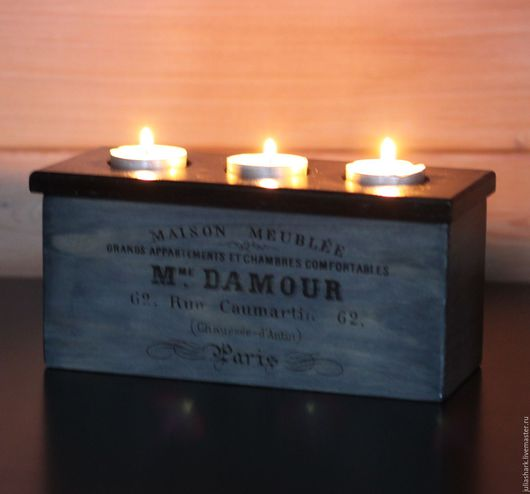 Подсвечник - шкатулка `Madam DAMOUR`. Подсвечник с отделением для хранения свечей. Мастерская добрых вещей `Солнце за пазухой`. Юлия Shark.