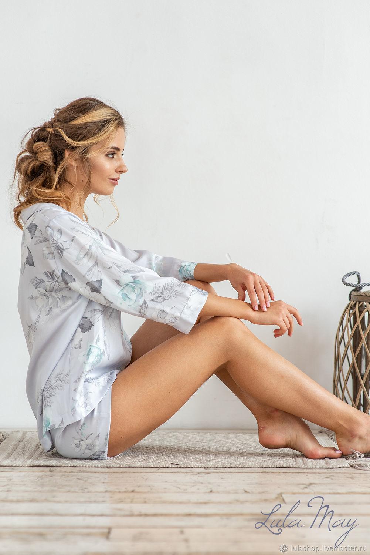 Белье ручной работы. Ярмарка Мастеров - ручная работа. Купить Пижама женская SIESTE из тенселя с нежными цветами. Handmade.