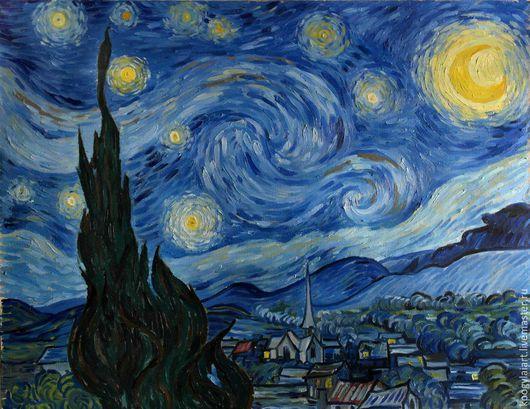 """Пейзаж ручной работы. Ярмарка Мастеров - ручная работа. Купить Картина маслом """"Звездная ночь"""". Handmade. Разноцветный, Живопись, натюрморт"""