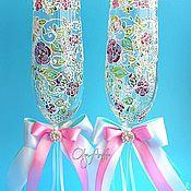 """Свадебный салон ручной работы. Ярмарка Мастеров - ручная работа Свадебные бокалы """"Нежные пионы"""". Роспись по стеклу. Handmade."""