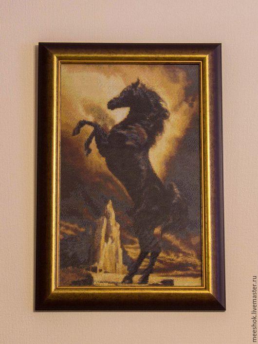 Животные ручной работы. Ярмарка Мастеров - ручная работа. Купить Чёрный жеребец. Handmade. Вышивка, конь, картина, лошадь, подарок