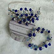 Свадебный салон handmade. Livemaster - original item Wedding headband. Wedding bracelet. Cornflower-white kit.. Handmade.