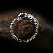Украшения handmade. Livemaster - original item Chameleon Ring of silver 925 with red zircons. Handmade.