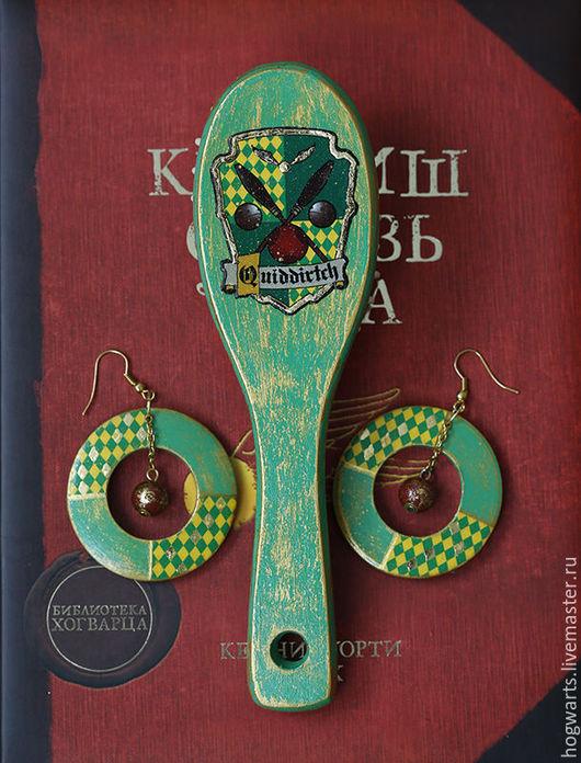 """Гребни, расчески ручной работы. Ярмарка Мастеров - ручная работа. Купить Подарочный набор """"Квиддич"""". Handmade. Ярко-зелёный, фанату"""