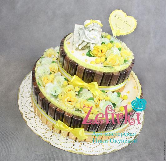 Подарки на свадьбу ручной работы. Ярмарка Мастеров - ручная работа. Купить Подарок жене супруге молодожёнам на свадьбу торт из шоколада. Handmade.