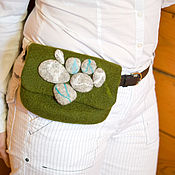Waist Bag handmade. Livemaster - original item Gift for March 8-Waist bag in Ecostyle with felted stones. Handmade.