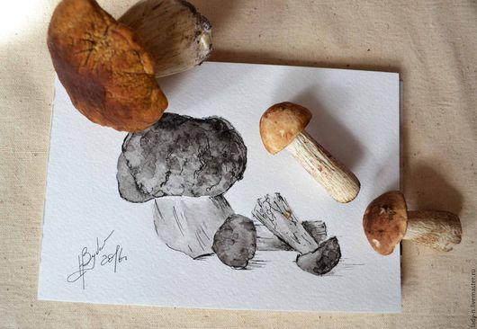 Триптих `Грибные заготовки`, картина, графика. Белый гриб и подберёзовики.