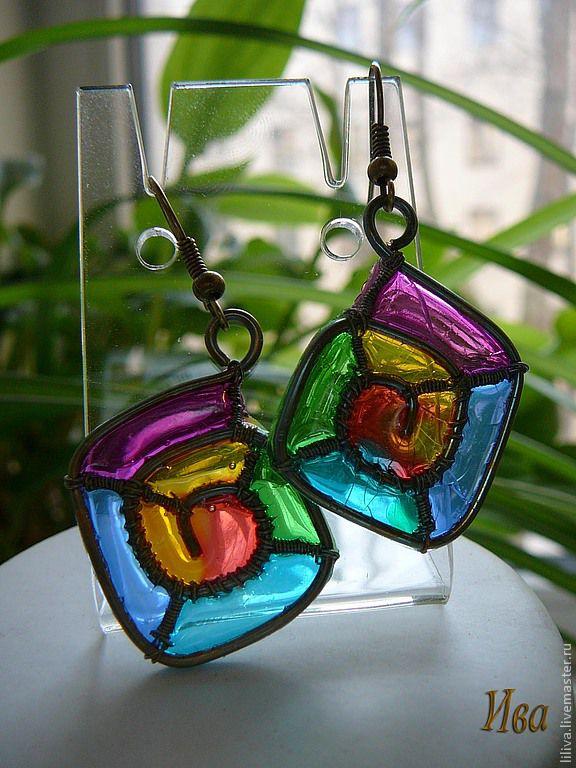 "Brass wire wrapped earrings ""Rainbow square"", Earrings, St. Petersburg,  Фото №1"
