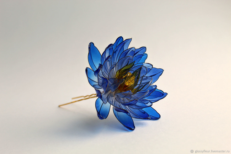 Заколка голубой лотос, Заколки, Чебоксары,  Фото №1