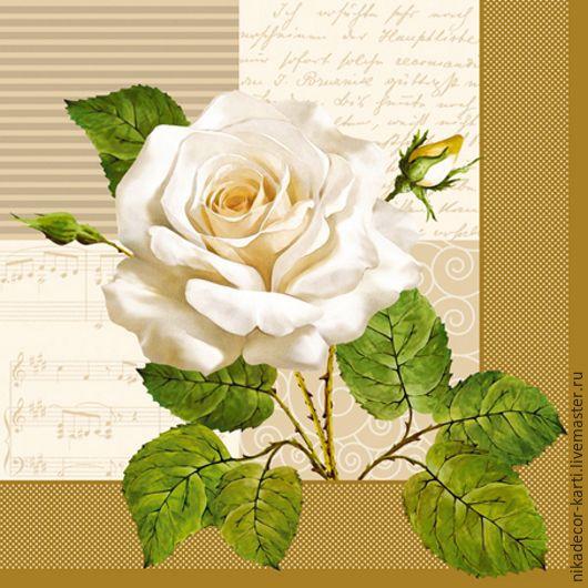 Декупаж и роспись ручной работы. Ярмарка Мастеров - ручная работа. Купить Белая роза (SLOG002901) - салфетка для декупажа. Handmade. Разноцветный