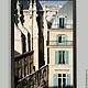 Париж фото картина - архитектура старого города с акцентом бирюзовых окон, улица Риволи.  III часть триптиха