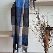 Аксессуары handmade. Livemaster - original item Plaid Stole Scarf Jeans Grey Blue. Handmade.