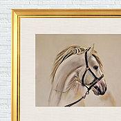 Картины и панно ручной работы. Ярмарка Мастеров - ручная работа Белая лошадь. Пастель Пастельная картина Черно-белая лошадь Портрет. Handmade.