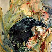 Картины и панно ручной работы. Ярмарка Мастеров - ручная работа акварель белые ирисы черный ворон. Handmade.