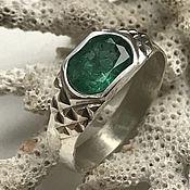 Украшения handmade. Livemaster - original item Men`s silver ring with beautiful Emerald 1,78 ct. Handmade.