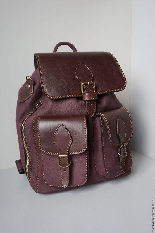 Рюкзаки ручной работы. Ярмарка Мастеров - ручная работа. Купить Рюкзак среднего размера из матовой кожи. Handmade. Бордовый