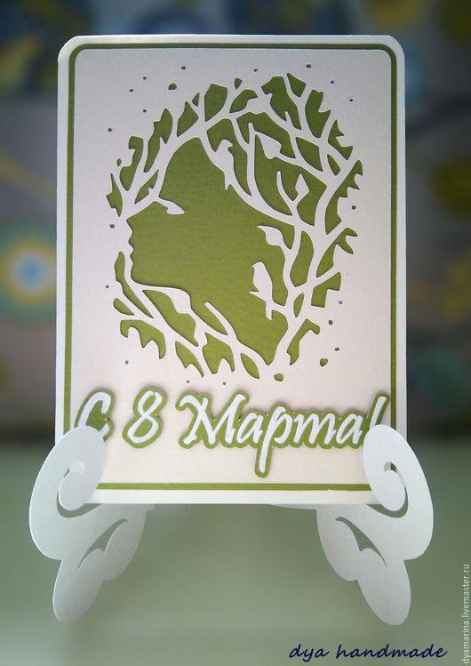 Открытки для женщин, ручной работы. Ярмарка Мастеров - ручная работа. Купить Девушка-Весна: открытка на Восьмое марта. Handmade. Зеленый