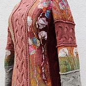 """Одежда ручной работы. Ярмарка Мастеров - ручная работа Свитер валяно-вязаный """"Брусничный"""". Handmade."""