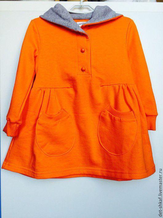 Одежда для девочек, ручной работы. Ярмарка Мастеров - ручная работа. Купить Платье с капюшоном оранжевое. Handmade. Рыжий, футер